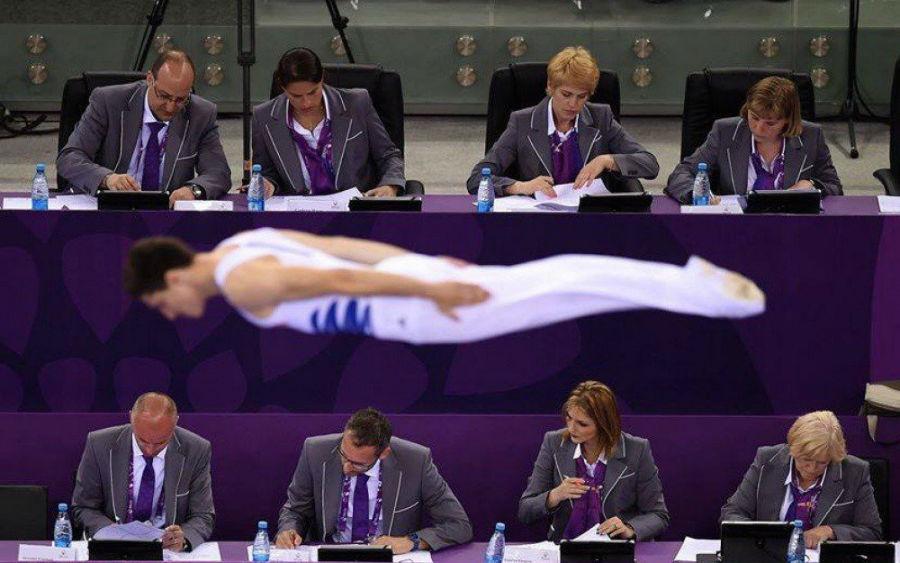 تعدادی از داورهای با ملاحظه در رقابت های ورزشی اروپا در باکو، آذربایجان