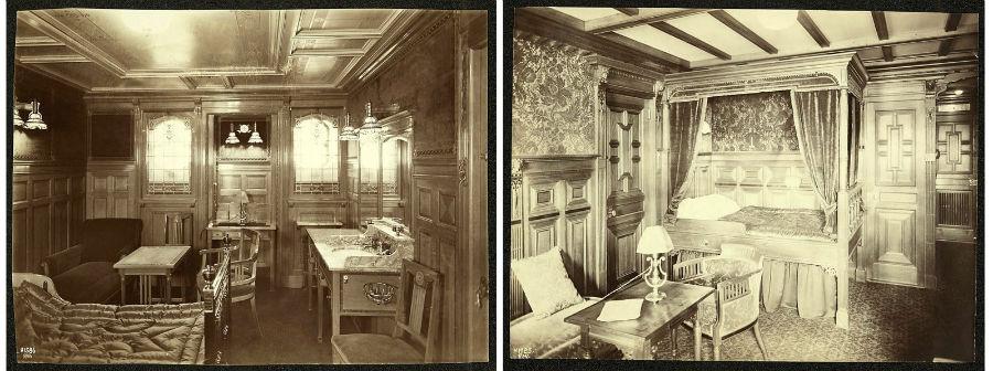 چپ: نمایی از طراحی داخلی کابین های راحت راست: طراحی داخلی کابین های درجه یک