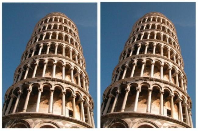 در نگاه اول تصور خواهید کرد که برج در عکس سمت راست، خمیدگی بیشتری دارد. اما واقعیت این است که هر دو تصویر یکی هستند و این مغز است که دچار اشتباه شده.