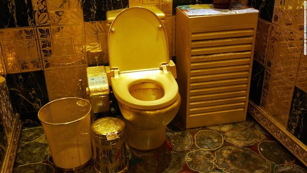 این توالت فرنگی تماما از طلا و سنگ های قیمتی تشکیل شده است و گفته می شود گران قیمت ترین دستشوئی تاریخ بشری است که تاکنون ساخته شده. دستشوئی مورد بحث که توسط یک کمپانی کره ای در هنگ کنگ طراحی گشته، فقط جنبه تزئینی دارد و از سال 2001 میلادی در معرض نمایش عموم قرار داده شده است. همچنین، جالب است بدانید که به عنوان گران قیمت ترین دستشویی ساخته شده در جهان با ارزش 4.8 میلیون دلار، نامش در کتاب رکوردهای گینس نیز به ثبت رسیده است.