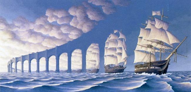 ماهیت این نقاشی با زاویه دید شما تغییر خواهد کرد؛ کشتی یا طاق پل؟
