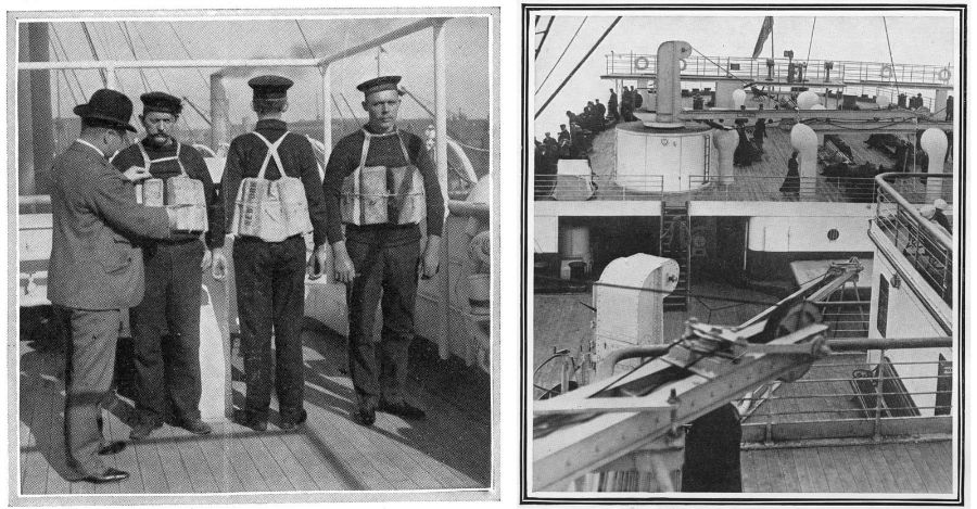 سمت چپ: بازرس کشتی در حال کنترل جلیقه های نجات خدمه است. (ساوتهمپتون - 1912) سمت راست: عقب کشتی و عرشه آفتاب تایتانیک که مخصوص مسافران بخش درجه دو و سه است.