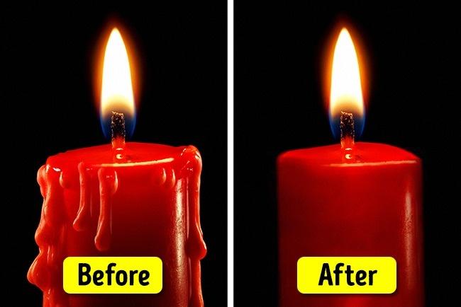 بی اشک کردن شمع ها: برای اینکه شمع های روشن، اشک نداشته باشند فقط کافی است آن را به مدت چندین ساعت درون محلول غلیظ آب نمک بخوابانید. سپس شمع را کنار بگذارید تا کاملا خشک شود.