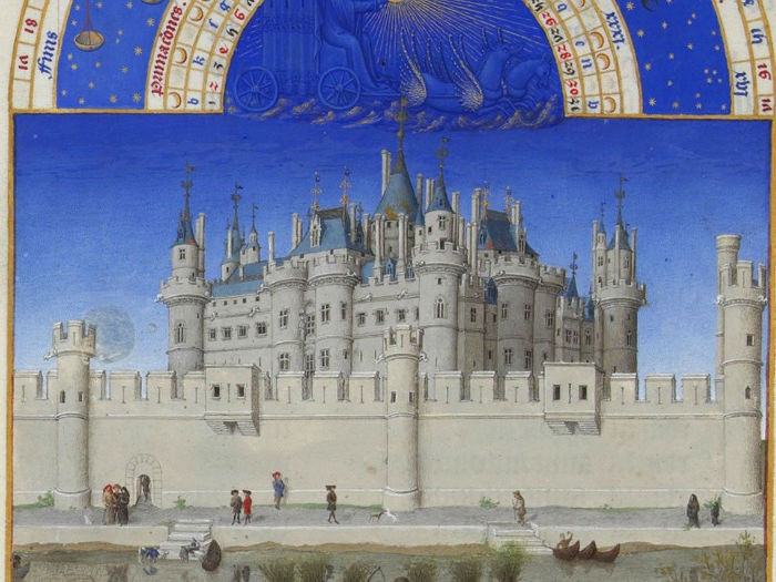 by-the-early-1400s-when-this-painting-was-made-paris-was-already-one-of-europes-largest-cities-if-not-the-largest-thats-the-palais-de-la-cit-a-castle-on-the-le-de-la-cit-behind-the-wall-w700