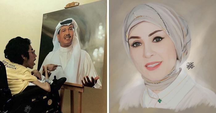 هنرمندی که با نقاشی های بی نظیر خود نشان داده معلولیت محدودیت نمی آورد