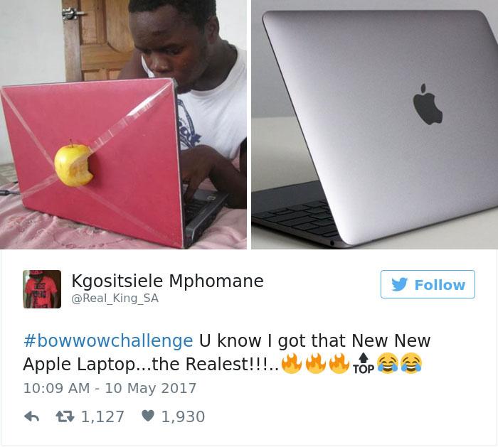 من جدیدترین و واقعی ترین مدل لپ تاپ اپل را خریداری کرده ام. #BowWowChallenge