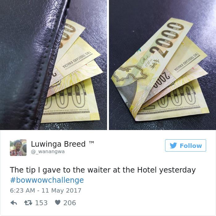 انعامی که دیروز به پیشخدمت هتل پرداخت کردم. #BowWowChallenge