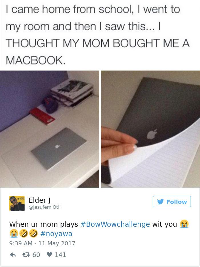 وقتی از مدرسه به خانه برگشتم، به اتاقم رفتم و با این صحنه مواجه شدم ... فکر کردم مادرم برایم مک بوک خریده است. وقتی مادرتان شما را به چالش #BowWowChallenge دعوت می کند.