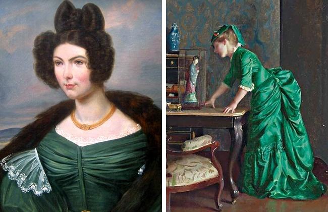 در دوره ویکتوریا، رنگی موسوم به سبز Scheele مد شده بود که تقریبا همه زنان لباس های خود را به ان رنگ انتخاب می کردند. این رنگ از ترکیب آرسنیک و مس به دست می آمد و به تدریج موجب مرگ فردی می شد که آن را می پوشید. رنگ لباس به غشا مخاطی نفوذ کرده و باعث ایجاد خراش می شد. با اینکه همه از خطرات این رنگ آگاه بودند اما حتی برای نقاشی دیوارهای داخلی خانه هم از آن استفاده می شد.