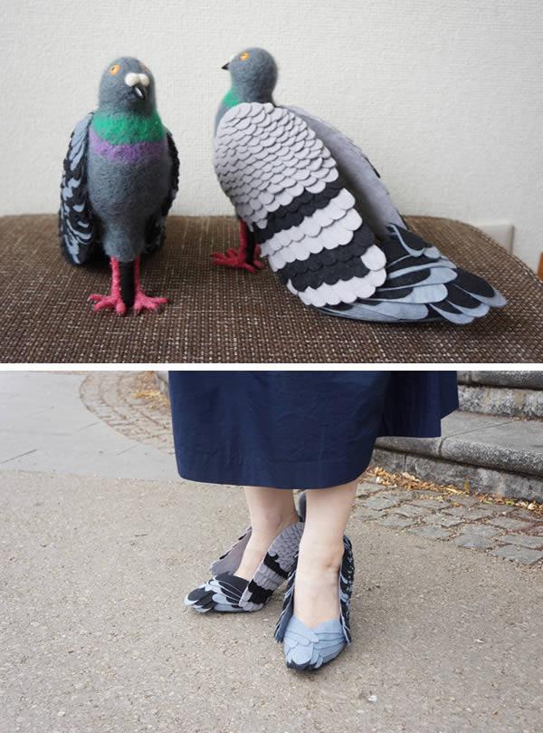 ژاپنی ها عموما قادرند از مقولات ساده زندگی، ایده های بزرگ بگیرند. از جمله می توان به کفش های نمدی به شکل کبوتر اشاره کرد که در ظاهر عجیب و شاید حتی ترسناک به نظر برسند اما هدف از تولید آن ها، دوستی با کبوترها اعلام شده است. در شهر توکیوی ژاپن پارکی به نام Ueno وجود دارد که شمار زیادی کبوتر در آن ساکن هستند. این کبوترها اغلب از عبور و مرور مردم در پارک دچار وحشت شده و اقدام به پرواز می کنند. از این رو، یکی از شهروندان که مسیر همیشگی وی از این پارک است، برای پیشگیری از ترس پرنده ها، کفش هایی از جنس نمد و به شکل کبوتر تهیه کرده و می پوشد تا بدین صورت دوستی خود را به کبوترها نشان دهد.