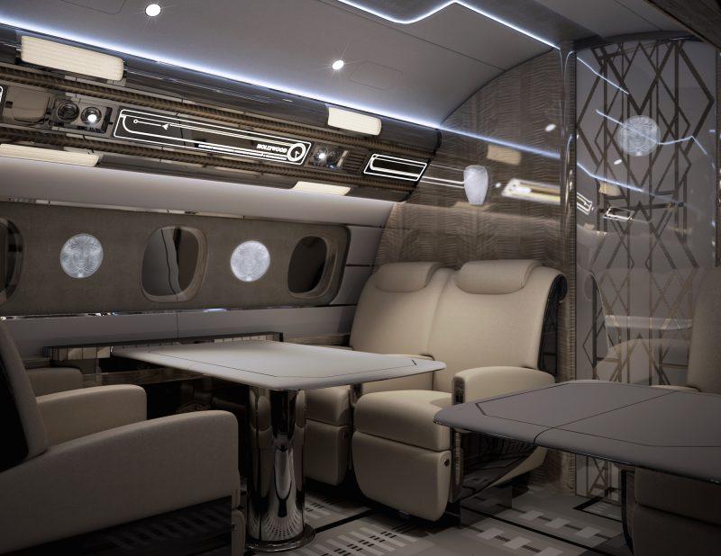 در اتاق وی آی پی کریستال، میز ناهار خوری 6 نفره وجود دارد که تقریبا در بخش انتهایی هواپیما واقع شده است.