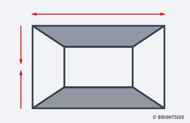 همین ترفند در رابطه با سقف تیره تر از دیوارها هم کاربرد دارد. یعنی وقتی سقف و کف تیره تر از دیوارها باشد، این توهم ایجاد می شود که دیوارها از هم فاصله بیشتری دارند و فضا عریض تر دیده خواهد شد. البته، شایان ذکر است که این کار موجب کوتاه دیده شدن سقف اتاق هم می شود.