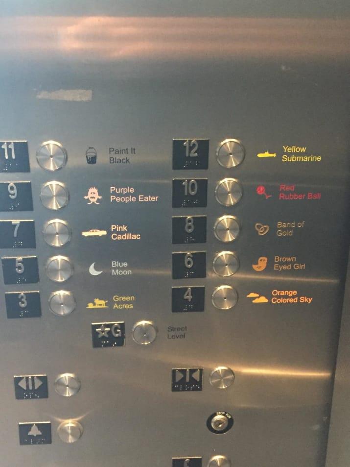 در آسانسور پارکینگ طبقاتی، برای هر طبقه یک اسم مجزا با تصویرش درج شده تا یادتان بماند در کدام طبقه پارک کرده اید.