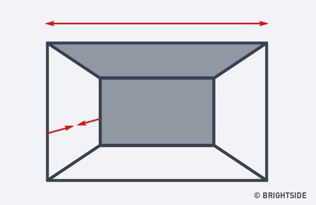 انتخاب رنگ مشابه برای سقف و دیوار عقبی باعث می شود تا اتاق پهن تر از آن چه هست به نظر برسد. اما این اشکال را دارد که عمق اتاق را کمتر از اندازه واقعی نشان خواهد داد.