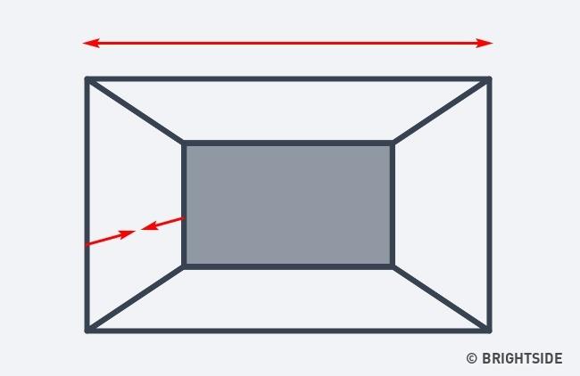 از دیگر روش های بزرگ تر نشان دادن اتاق این است که به واسطه خطای دید، عمق فضا را کمتر نشان دهید. برای چنین امری فقط کافی است دیوار عقبی را تیره تر از دیگر دیوارهای اتاق رنگ آمیزی کنید.