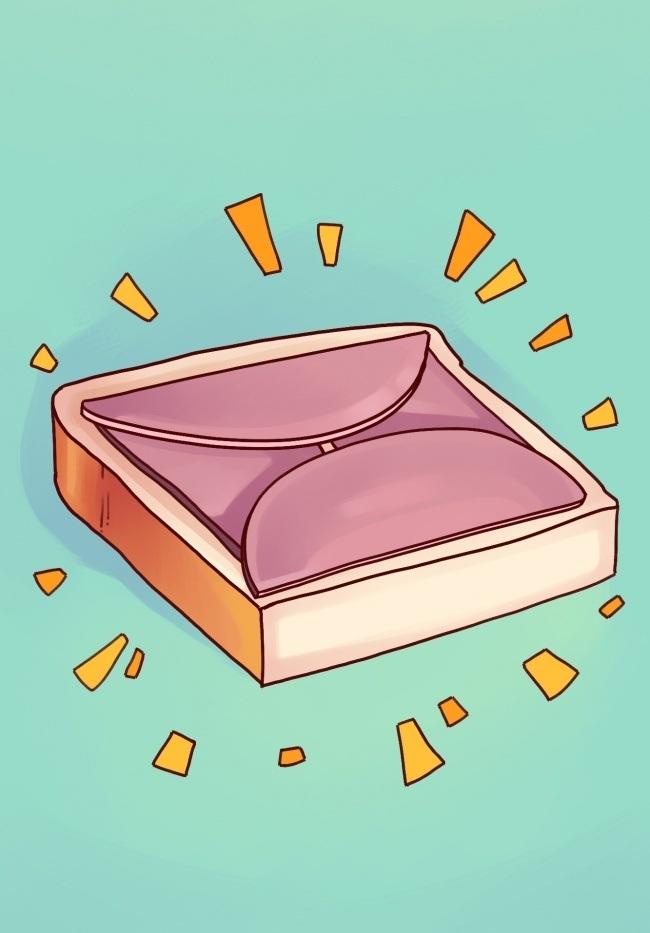 برای تهیه اسنک و ساندویچ، برای اینکه اسلایس های ژامبون از لبه های نان بیرون نزند، کافیست آن را در مرکز نان گذاشته و لبه های ژامبون را از هر 4 طرف به سمت داخل تا کنید.