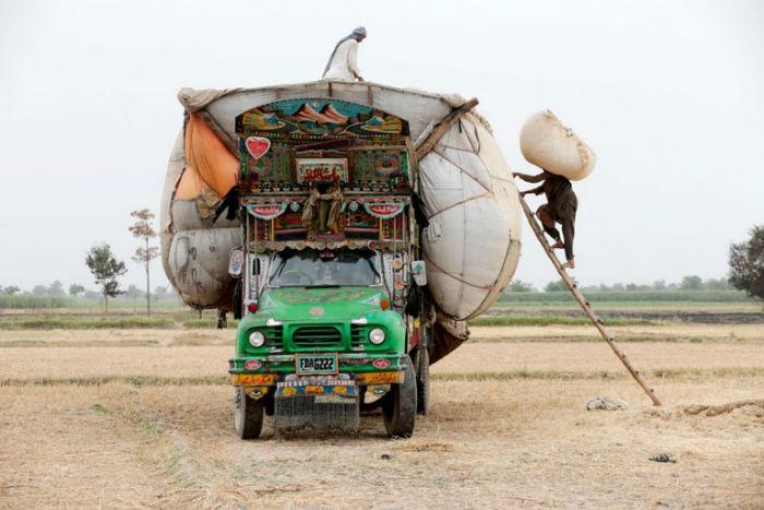 هنر متحرک؛ نقاشی های رنگارنگی که بر روی کامیون های پاکستانی نقش بسته اند