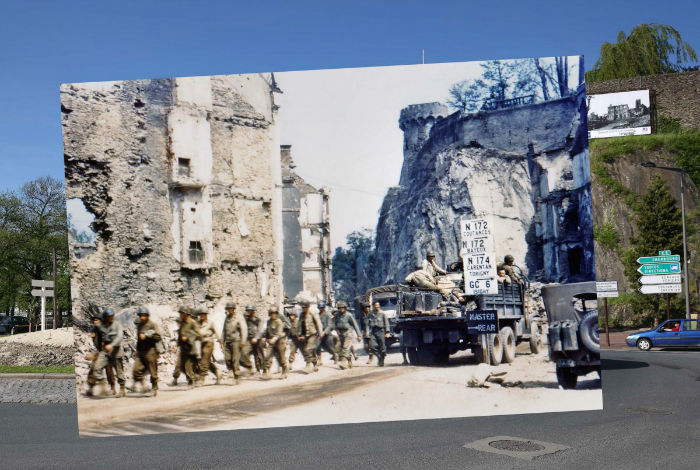 a-view-of-the-roadway-on-may-7-2014-in-saint-lo-france-where-us-army-trucks-and-jeeps-once-drove-through-w700