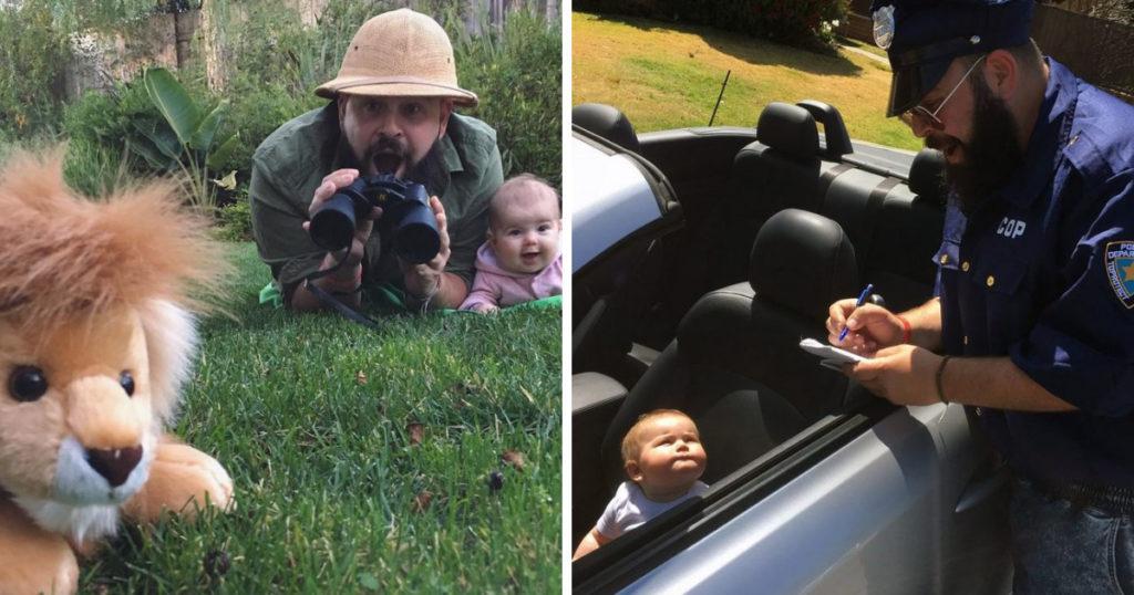 عکس های جالبی که یک پدر خوش ذوق با پوشیدن لباس های متنوع از خود و دخترش گرفته است
