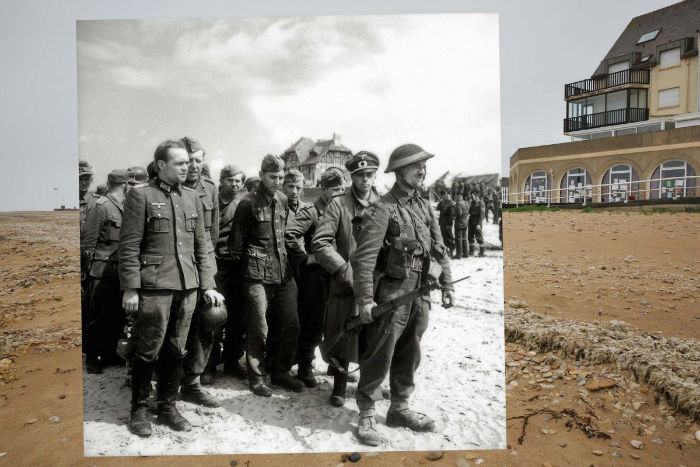 juno-beach-on-may-8-2014-in-bernieres-sur-mer-france-juxtaposed-with-a-canadian-soldier-at-the-head-of-a-group-of-german-prisoners-of-war-including-two-officers-on-juno-beach-on-june-6-1944-w700