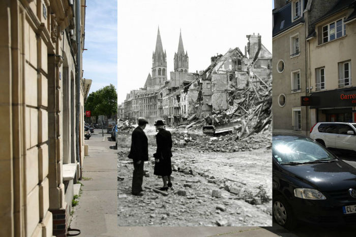 the-rue-de-bayeux-on-may-5-2014-in-caen-france-an-older-couple-watched-a-canadian-soldier-with-a-bulldozer-working-in-the-ruins-of-a-house-in-the-rue-de-bayeux-on-july-10-1944-w700