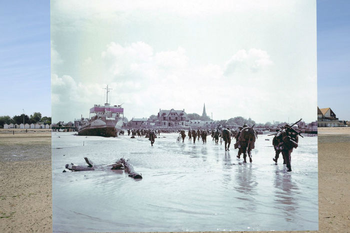 the-seafront-and-juno-beach-on-may-5-2014-in-bernieres-sur-mer-france-juxtaposed-with-troops-of-the-3rd-canadian-infantry-division-landing-at-the-beach-on-d-day-w700