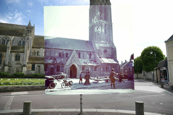 the-street-area-and-notre-dame-nativity-church-on-may-5-2014-in-bernieres-sur-mer-france-where-a-canadian-soldier-was-directing-traffic-on-d-day-w700