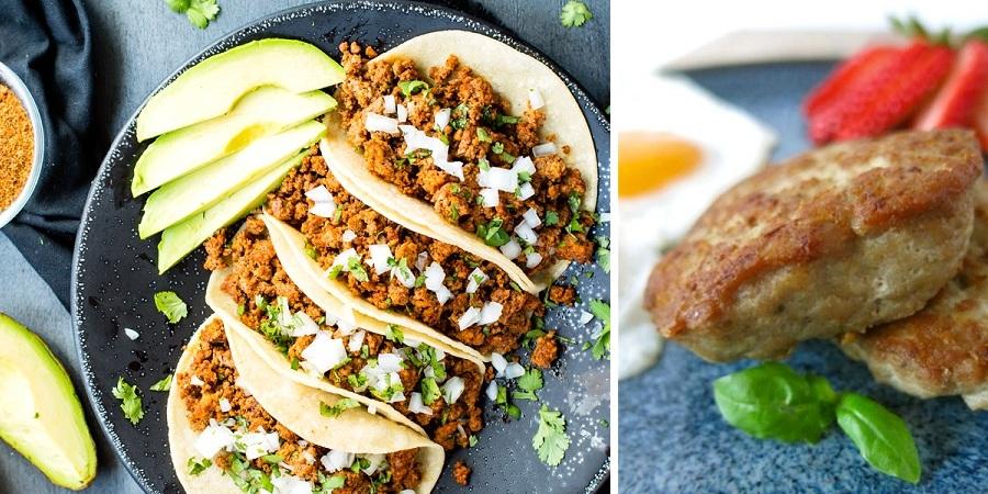 تاکوی بوقلمون و سوسیس صبحانه با گوشت بوقلمون [تماشا کنید]