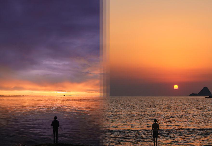 طلوع خورشید در جزیره ونکوور در کانادا / طلوع در جزیره پوروس در یونان