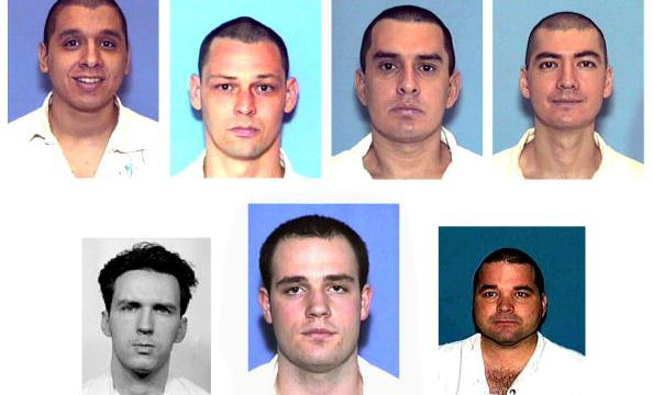WASHINGTON, DC - JANUARY 2: This composite of images taken 02 January, 2001 from the Texas Department of Criminal Justice Internet site shows seven prisoners who escaped 13 December, 2000 from a Texas maximum-security prison in Kenedy, Texas, about 60 miles southeast of San Antonio. The fugitives (top L-R) Joseph Garcia, Donald Newbury, George Rivas, Larry Harper, (bottom L-R) Patrick Murphy, Jr., Randy Halprin and Michael Rodriguez had been serving sentences ranging from 30 years to life and allegedly escaped by posing as prison workers. The men are also wanted in connection with a Christmas Eve robbery of a Dallas-area sporting goods store in which a policeman was shot and killed. (Photo credit should read TDCJ/AFP/Getty Images)