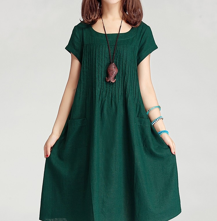 dark-green-women-cotton-linen-long-dress-casual-skirt-2015-summer-dress
