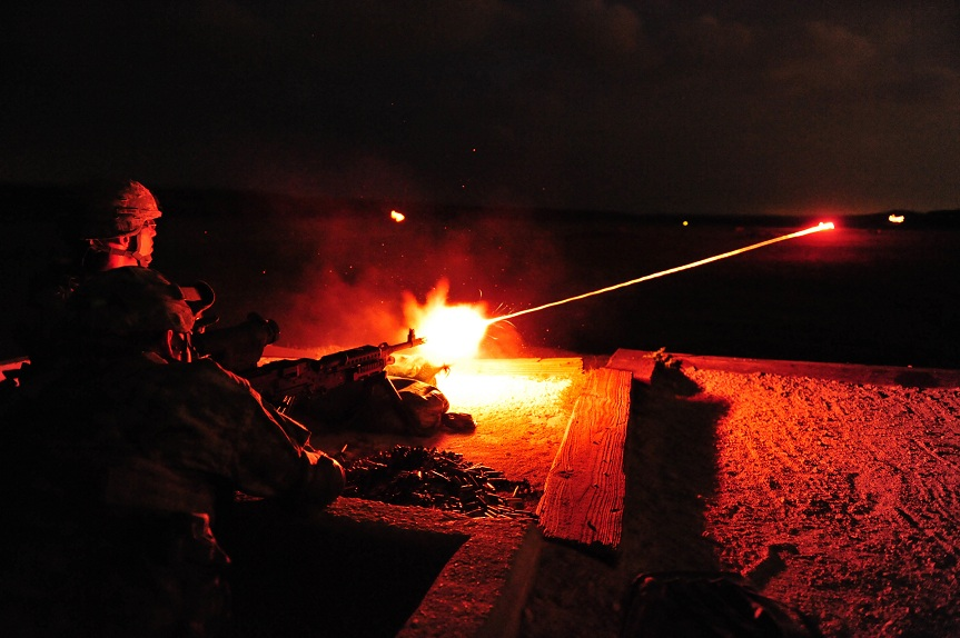 090425-A-2315M-407 U.S. Army soldiers assigned to 3rd Battalion, 157th Field Artillery, Colorado Army National Guard, light up the range with tracer rounds as they fire the M-240B medium machine gun with the help of night optics at Fort Hood, Texas, on April 25, 2009. The battalion, which arrived at its mobilization station on April 18, is deploying this summer in support of Operation Iraqi Freedom. DoD photo by Staff Sgt. Liesl Marelli, U.S. Army. (Released)
