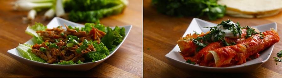 لقمه های مرغ تریاکی با کاهو و اینچیلادای مرغ و پنیر
