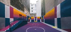 زمین بسکتبالی زیبا و متفاوت در شهر پاریس که با استفاده از رنگ های روشن نئونی ساخته شده است