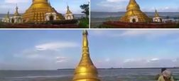 فیلمی که غرق شدن یک معبد بودایی در رودخانه را نشان می دهد [تماشا کنید]