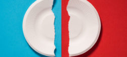 Torned Broken Paper Plates on Blue and Red Background.