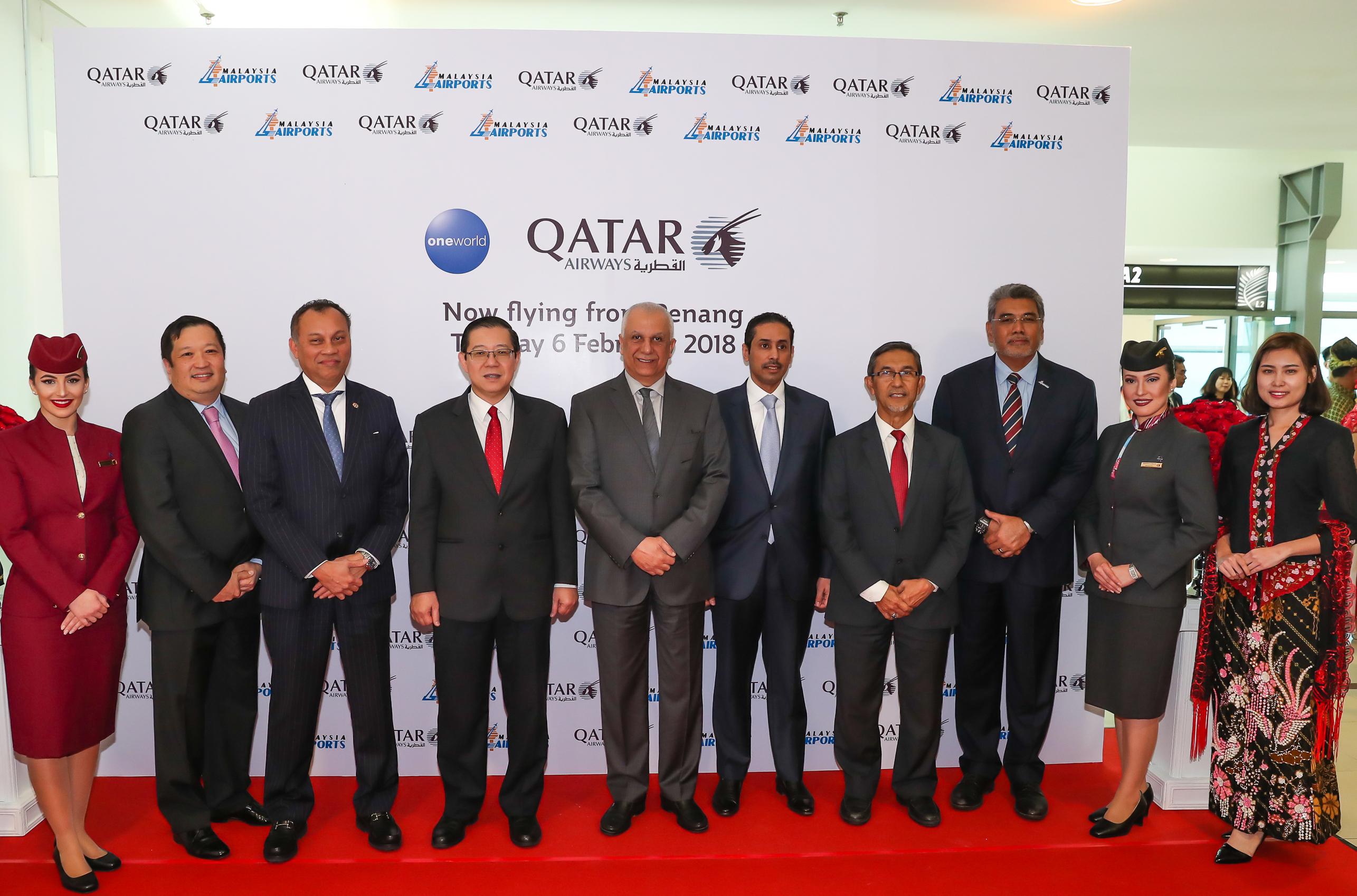 اولین پرواز بدون توقف هواپیمایی قطر در فرودگاه بینالمللی پنانگ مالزی به زمین نشست