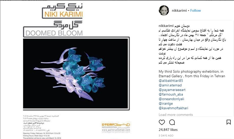 گشتی در گالری عکس «نیکی کریمی» در باغ نگارستان تهران