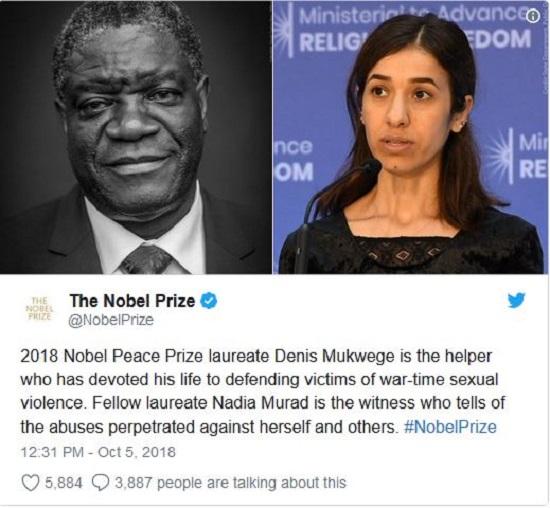 جایزه صلح نوبل برای دفاع از قربانیان خشونت جنسی در جنگ
