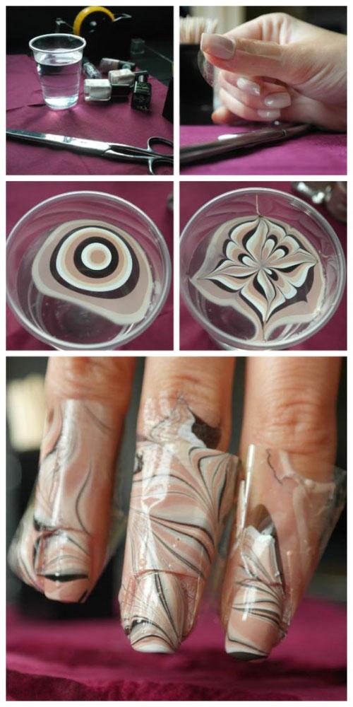 آموزش تصویری طراحی ناخن : سنگ مرمر