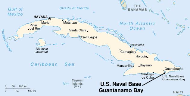 مجموعه زندان واقع در خلیج گوانتانامو (Guantánamo)، ایستگاه دریایی ساخته شده در خاک کوبا که پس از حملات یازده سپتامبر به محلی برای زندانی کردن و بازجویی از تروریست های دستگیر شده تبدیل شد