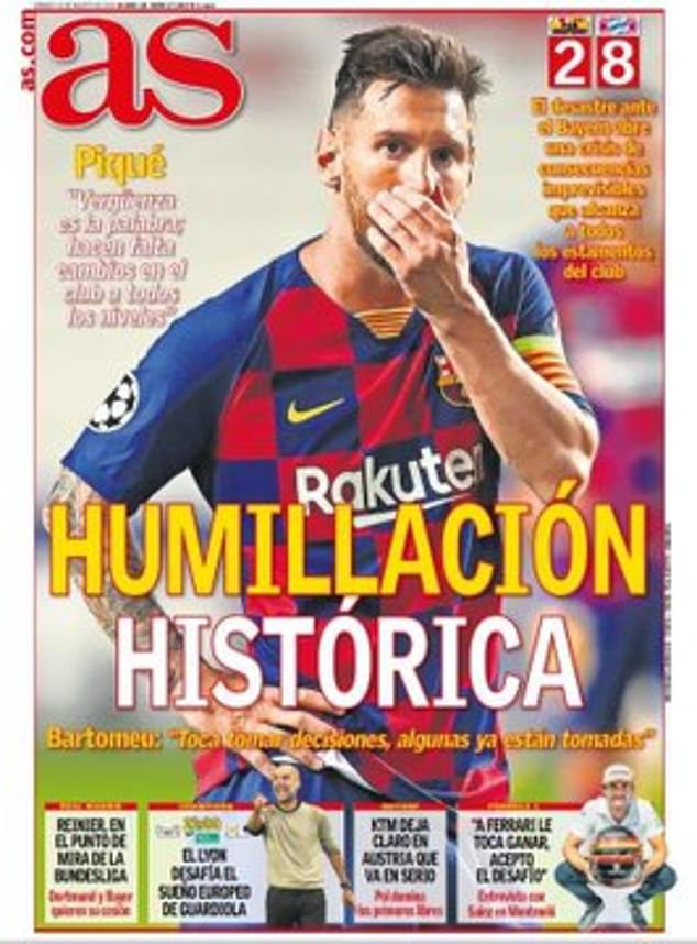 شکست 8 بر 2 بارسلونا برابر بایرن مونیخ