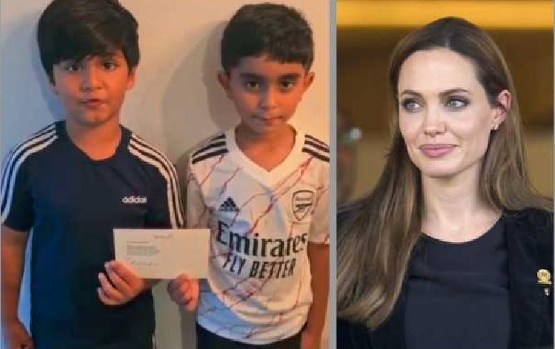 کمک ۷۶,۰۰۰ دلاری آنجینا جولی به دکه لیموناد فروشی خیرخواهانه پسربچههای لندنی