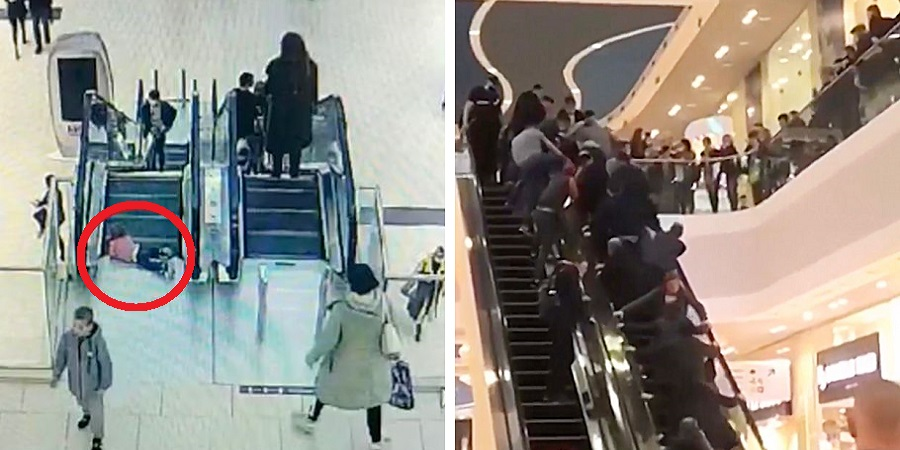 گیر کردن انگشتان کودک روس در پله برقی و تلاش مردم برای نجاتش + ویدئو