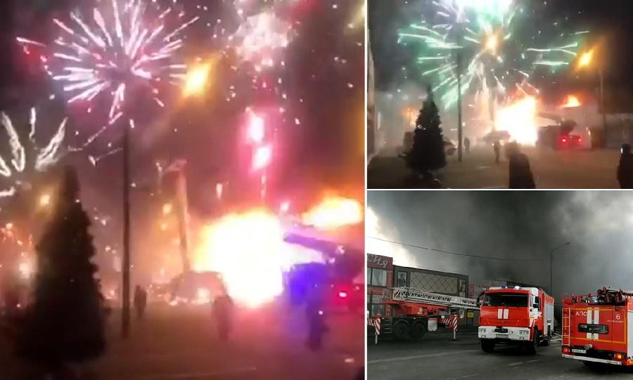 لحظه انفجار انبار مواد محترقه و آتش بازی در روسیه + ویدیو
