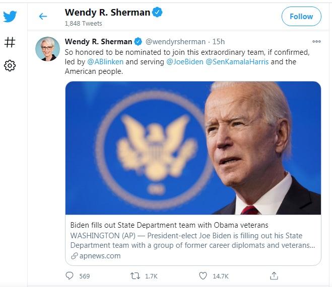 نگاهی به کارنامه «وندی شرمن»: فرد شماره ۲ وزارت خارجه دولت جو بایدن