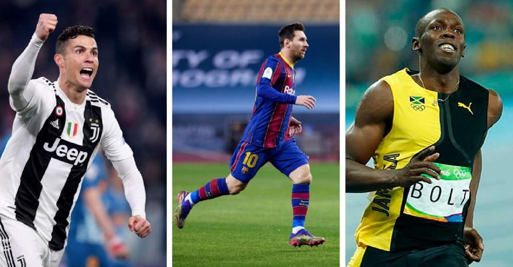 سریع ترین مرد جهان کدام است؟ یوسین بولت، کریستیانو رونالدو یا لیونل مسی؟ + ویدیو