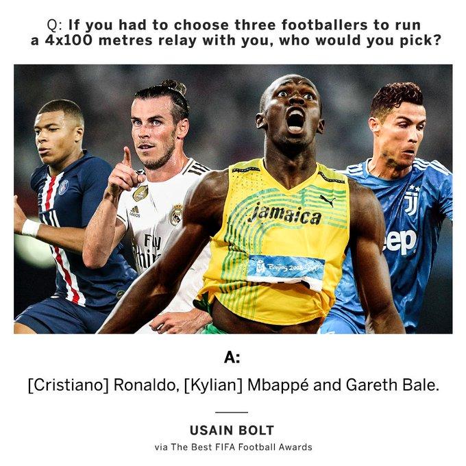 یوسین بولت سه فوتبالیست را انتخاب کرده که به نظر خودش می توانند در یک مسابقه 4 در 100 متر با او رقابت کنند.