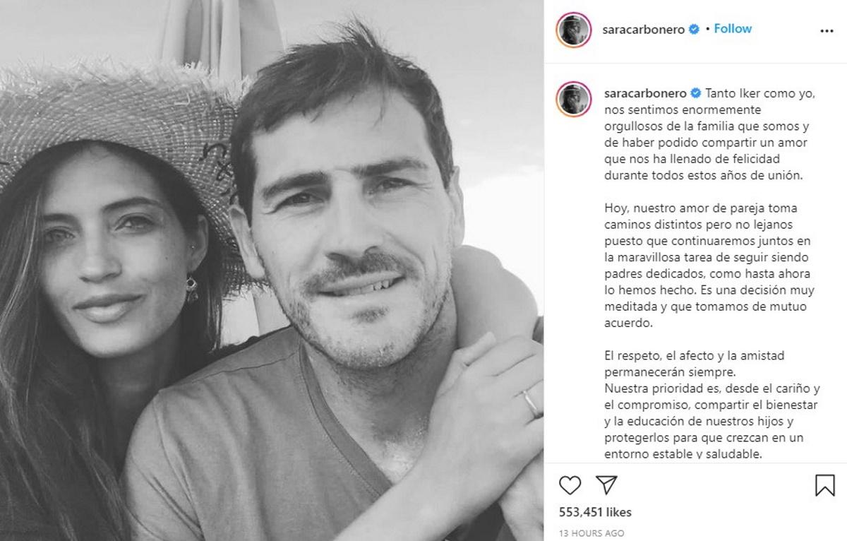 ایکر کاسیاس و همسرش سارا کاربونرو که یکی از مشهورترین زوجهای فوتبالی هستند پس از 11 سل از یکدیگر جدا شدهاند.