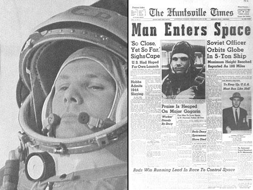 پاسخ خروشچف نیز 60 سال پیش در 12 آوریل 1961 داده شد، وقتی یوری گاگارین، سوار بر فضاپیمایی به نام Vostok 1 مدار زمین را در نوردید.